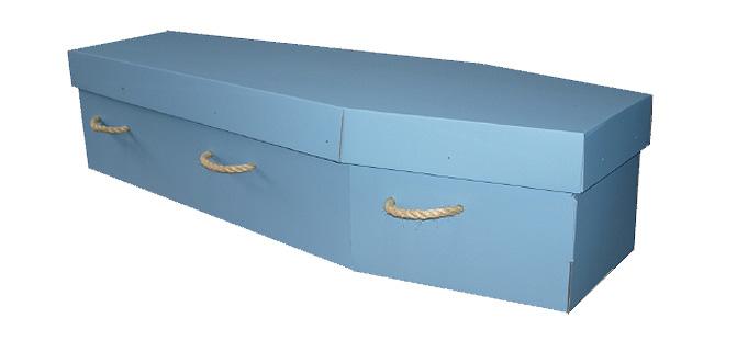 Bradnam blue cardboard coffin